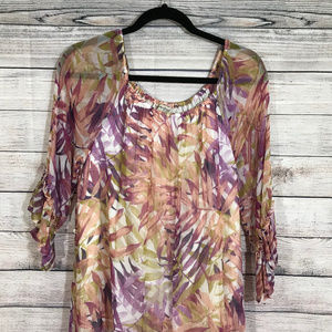 Lucky Brand Dresses - Lucky Brand Floral Tropical Sheer Ruffle Print